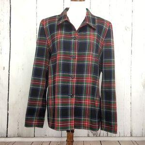Pendleton 100% Virgin Wool Green/Red Plaid Jacket